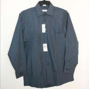 Calvin Klein 16 Dress Shirt 32 33 Blue Check NWT